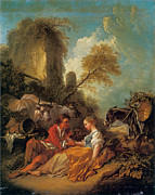 Francois Boucher Posters - A Pastoral Landscape with a Shepherd and Shepherdess Poster by Francois Boucher