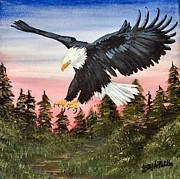 4th July Painting Prints - A Patriots Dawn Print by Jerry Padilla