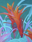 Bromeliad Framed Prints - A Pattern of Bromeliads Framed Print by Margaret Saheed