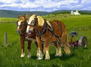 Horses In Harness Prints - A Pause in the Mowing Print by Barb Pennypacker