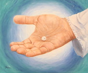 Jesus Art Painting Framed Prints - A Pearl in His Hand Framed Print by Jeanette Sthamann