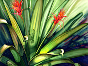 Bromeliad Painting Posters - A Peek Through The Leaves Poster by Lyse Anthony