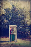 Vintage Digital Art Metal Prints - A Phone in a Booth? Metal Print by Laurie Search