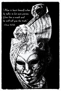 Harlequin Posters - A picture of a venitian mask accompanied by an Oscar Wilde quote Poster by Nila Newsom