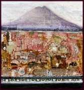 Mystical Landscape Mixed Media Posters - A Piece Of The Mountain Poster by Nalini Cook
