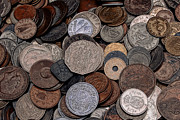 Liam Liberty Acrylic Prints - A Pile of Old Coins Acrylic Print by Liam Liberty