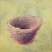 Nest Metal Prints - A Pink Nest Metal Print by Songmi Park