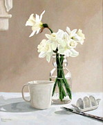 Caddy Paintings - A Pint of Daffodils by Sandra Chase