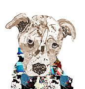 Pit Bull Mixed Media Metal Prints - A Pit Bull Day Metal Print by Brian Buckley