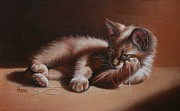 Kittens Paintings - A Place in the Sun by Cynthia House