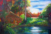 Nipa House Paintings - A Place Undisturbed by Lyn Deutsch