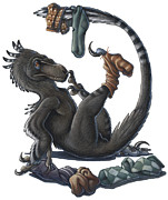 Deinonychus Prints - A Playful Deinonychus Dinosaur Playing Print by H. Kyoht Luterman