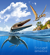 Two Fish Digital Art - A Plesiopleurodon Jumps by Mohamad Haghani