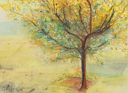 Yellow Leaves Pastels Prints - A Poem Lovely As A Tree Print by Helena Bebirian