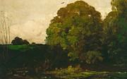 Oaks Painting Framed Prints - A Pond In The Morvan Framed Print by Charles Francois Daubigny