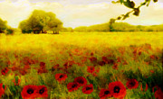 Landscapes Mixed Media - A Poppy meadow by Valerie Anne Kelly