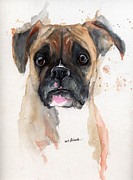 A Portrait Of A Boxer Dog Print by Angel  Tarantella