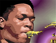 Male Portraits Digital Art Posters - A Portrait of John Coltrane Poster by Walter Neal