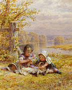 Siblings Paintings - A Posy for Mother by William Stephen Coleman