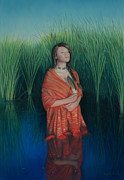 Native American Woman Prints - A Prayer for the Waters Print by Holly Kallie