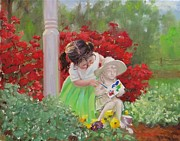 Azalea Bush Paintings - A Precious Memory by Laura Lee Zanghetti