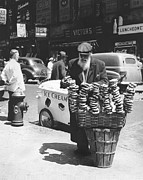 Senior Citizens Prints - A Pretzel Vendor In New York Print by Underwood Archives