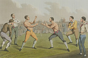 Sports Print Paintings - A Prize Fight aquatinted by I Clark by Henry Thomas Alken