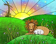 Lion Lamb Prints - A Promise of Peace Print by Glenna Smiesko