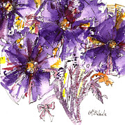 Pink Flower Prints Painting Prints - A Purple Flower Medley Print by Kathleen McElwaine
