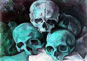 Human Skeleton Paintings - A Pyramid Of Skulls after Cezanne by Tracey Harrington-Simpson