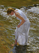 Beautiful Creek Painting Originals - A Quick Cooldown by Scott Harding