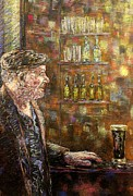Men Pastels Posters - A Quiet Guinness Poster by John  Nolan