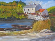 Maureen Painting Posters - A quiet harbour Roundstone Connemara Poster by Maureen Dowd