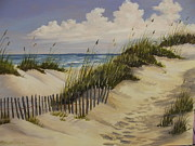 Cloudy Day Paintings - A Quiet Seaside by Wanda Dansereau