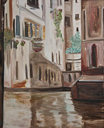 Waterscape Painting Posters - A Quiet Venice Canal Poster by Chuck Gebhardt