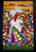 Woman Tapestries - Textiles Framed Prints - A Quilters Dream Framed Print by Aisha Lumumba