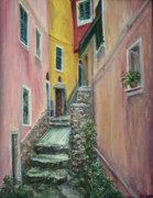 Quin Sweetman Paintings - A Quite Place in Cinque Terre - Original Affordable Fine Art Oil Painting - Slice of Life - Italy by Quin Sweetman
