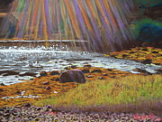 Sun Rays Pastels Metal Prints - A Rae of Sunshine at Goat Lake Metal Print by Rae  Smith PSC