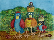 Boxes Paintings - A Rainforest Bird Family Goes On A Picnic by Frank Hunter