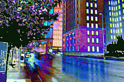 Businesses Digital Art Prints - A Rainy Night in Omaha Print by Candice Floyd