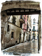 Barcelona Mixed Media Posters - a rainy street in Barcelona  Poster by Lauri Serene