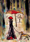No People Mixed Media Framed Prints - A rainy walk with a dog Framed Print by Catalina Lira