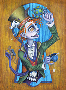 Mad Hatter Painting Framed Prints - A Raven And A Writing Desk Framed Print by Kelly Jade King