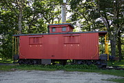 Old Caboose Posters - A red Caboose - Scenic Railroad North Conway Poster by Christiane Schulze