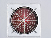 Electric Fan Posters - A red industrial ventilated fan on grey wall Poster by Ammar Mas-oo-di
