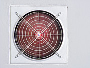 Electric Fan Posters - A red industrial ventilated fan on grey wall as background Poster by Ammar Mas-oo-di
