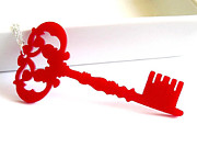 Long Necklace Jewelry - A RED Key To Your Heart Pendant Necklace by Rony Bank