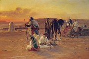 North African Painting Posters - A Rest in the Desert Poster by Otto Pilny