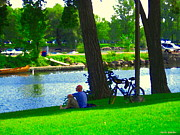 Summer Along The Canal Paintings - A Rest On A Summer Hill Overlooking The Lachine Canal Montreal Art Landscape Scenes Carole Spandau by Carole Spandau