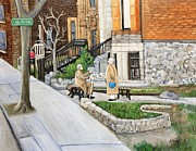 Elderly People Paintings - A Rest on Summerhill Avenue by Reb Frost
